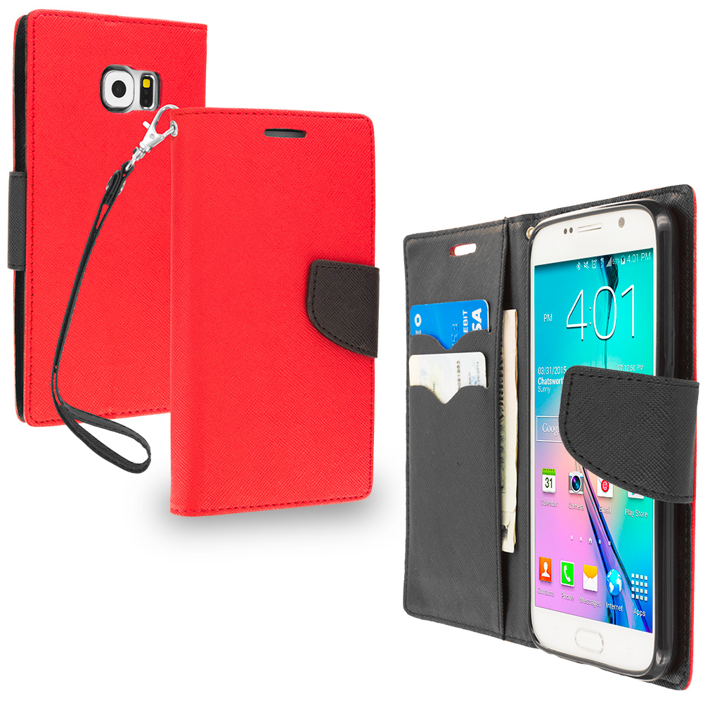 Samsung Galaxy S6 Red / Black Leather Flip Wallet Pouch TPU Case Cover with ID Card Slots