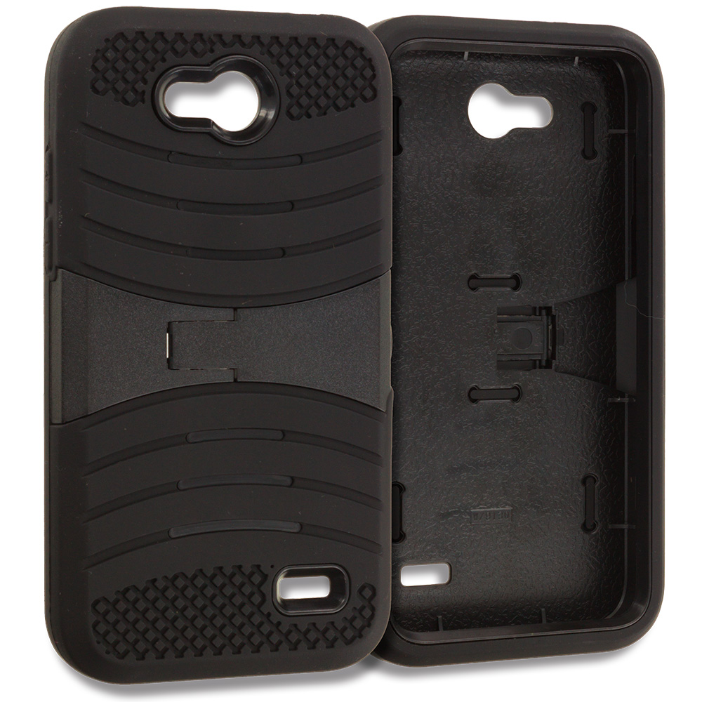 ZTE Speed N9130 Black / Black Hybrid Heavy Duty Shockproof Case Cover with Stand