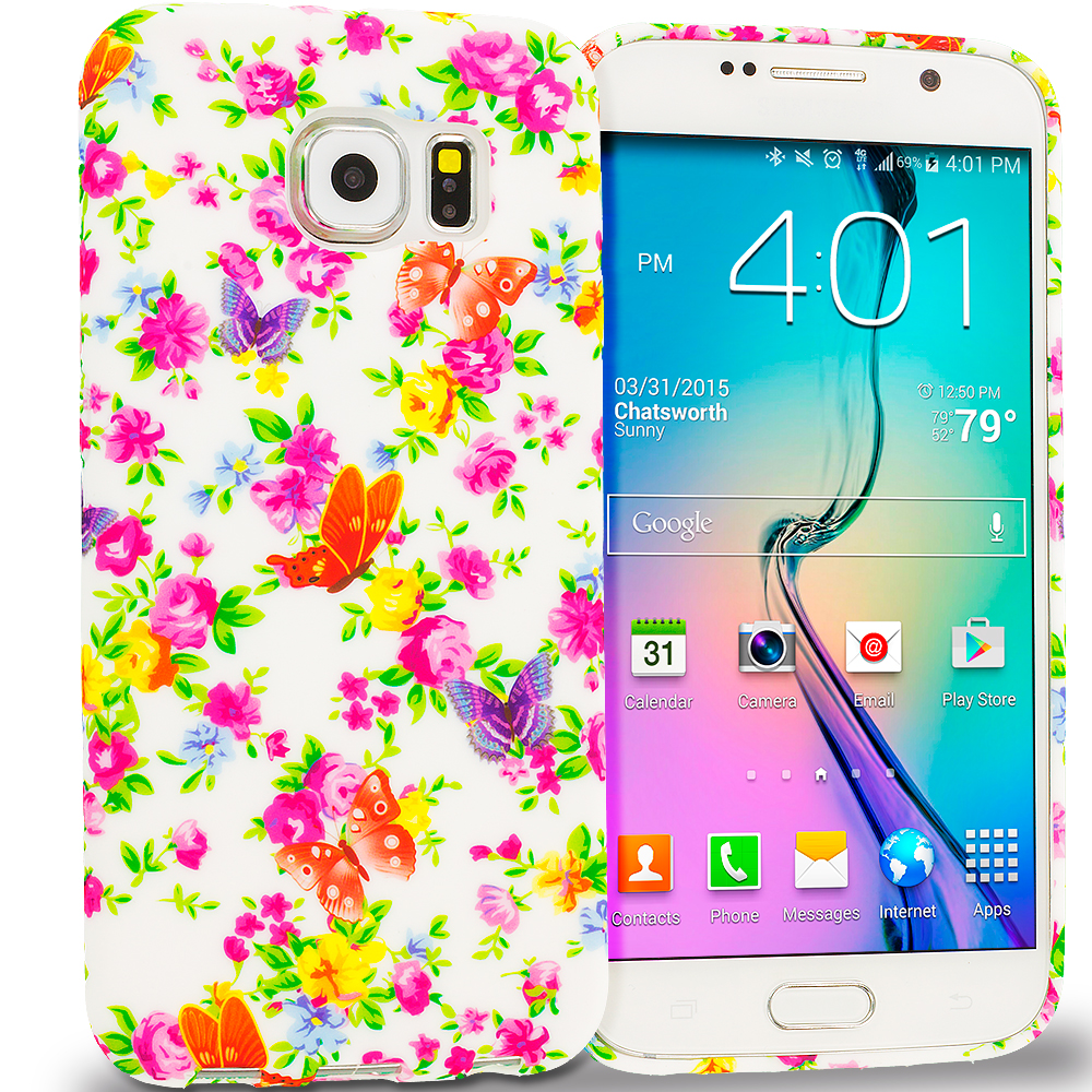 Samsung Galaxy S6 Colorful Flower TPU Design Soft Rubber Case Cover