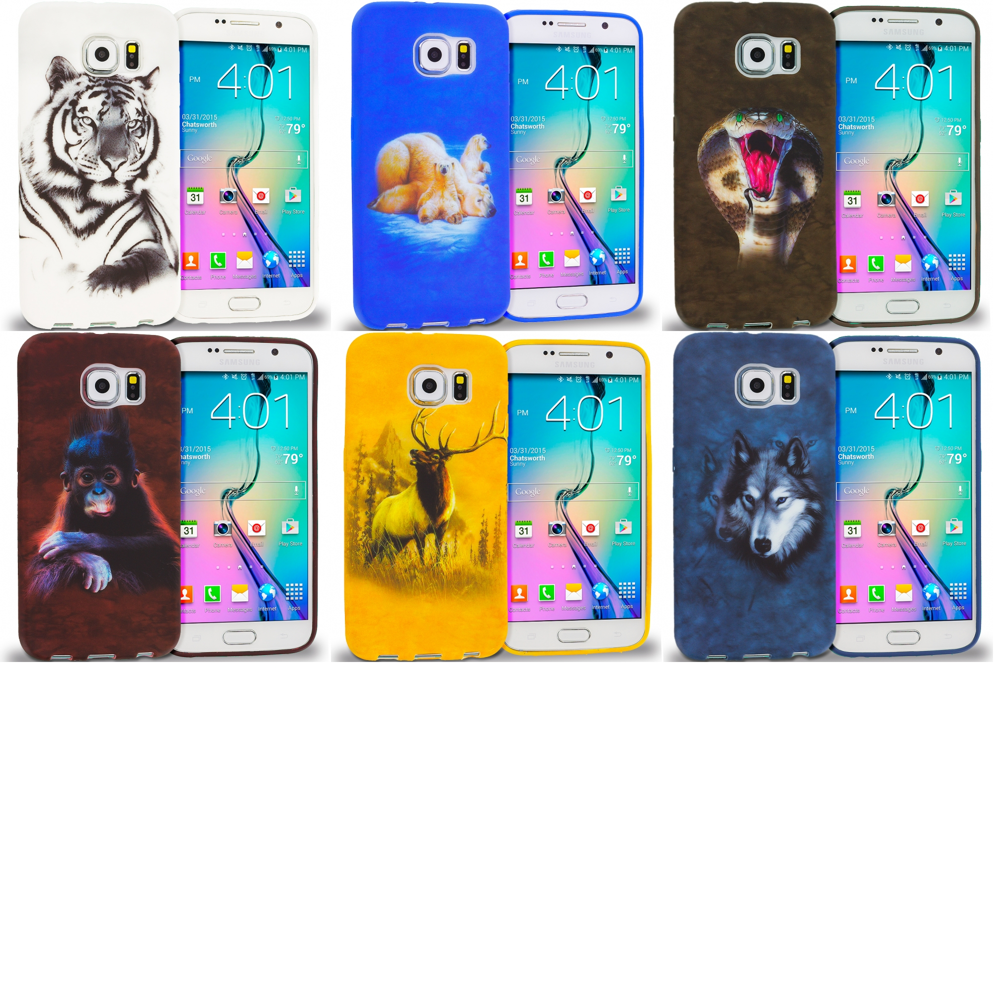 Samsung Galaxy S6 Combo Pack : Tiger TPU Design Soft Rubber Case Cover