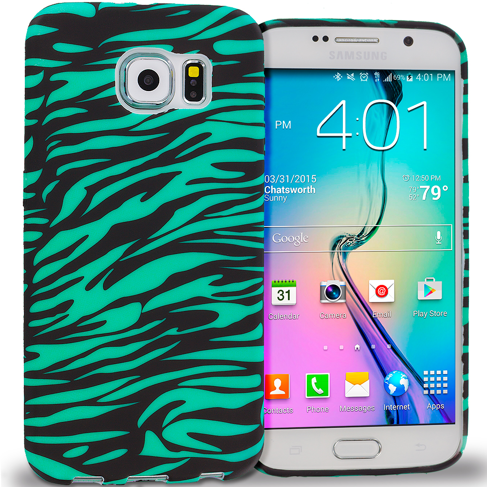 Samsung Galaxy S6 Black/Baby Blue Zebra TPU Design Soft Rubber Case Cover