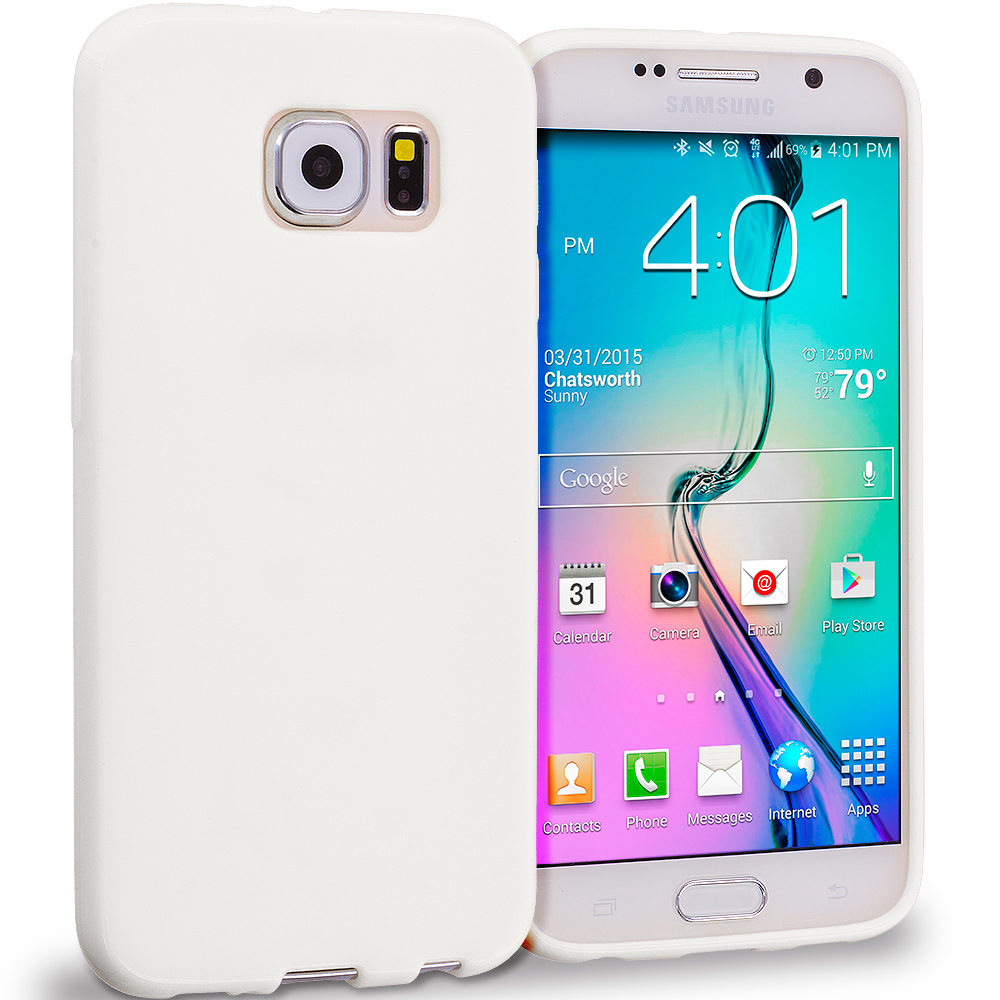 Samsung Galaxy S6 Combo Pack : Black Solid TPU Rubber Skin Case Cover : Color White Solid