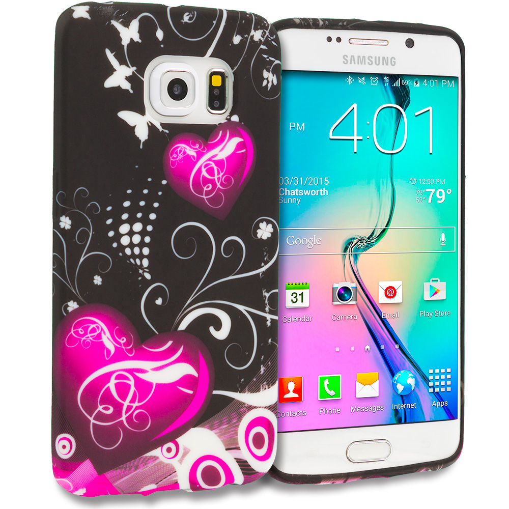 Samsung Galaxy S6 Edge Heart Melody TPU Design Soft Rubber Case Cover