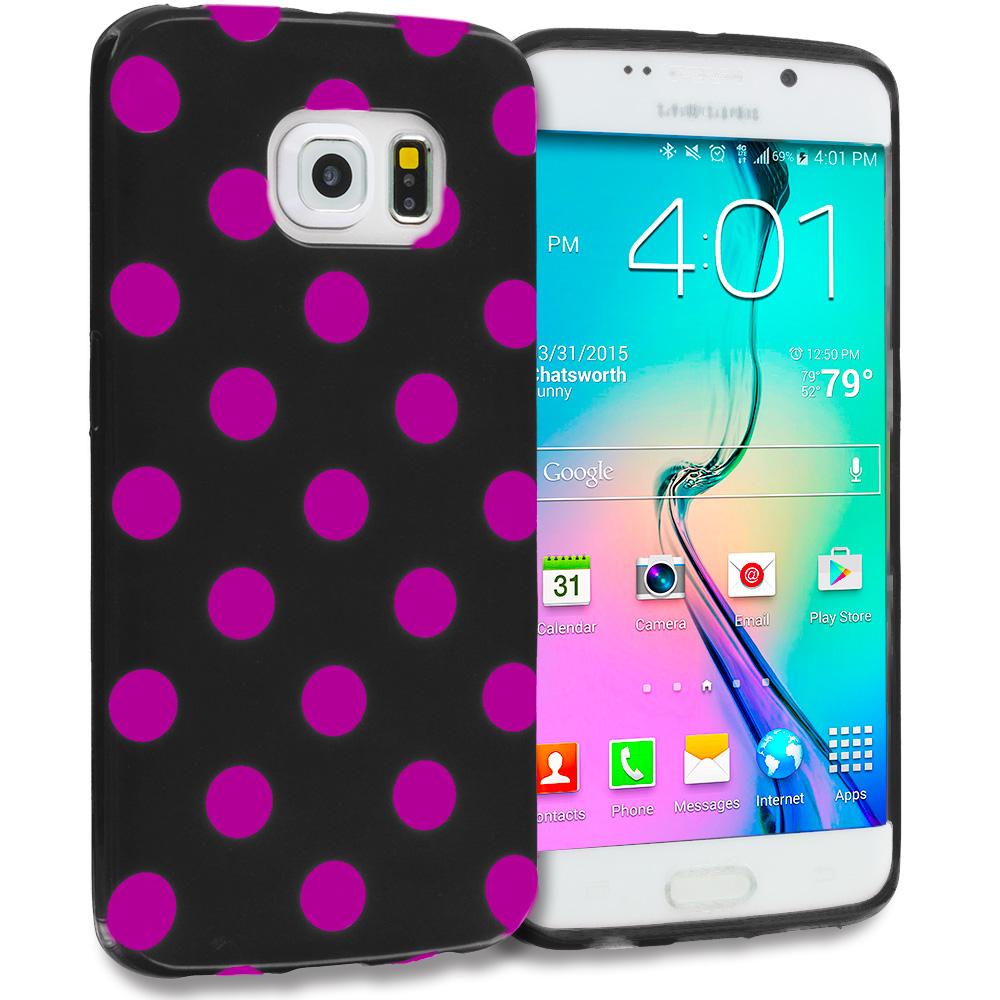 Samsung Galaxy S6 Edge Black / Hot Pink TPU Polka Dot Skin Case Cover