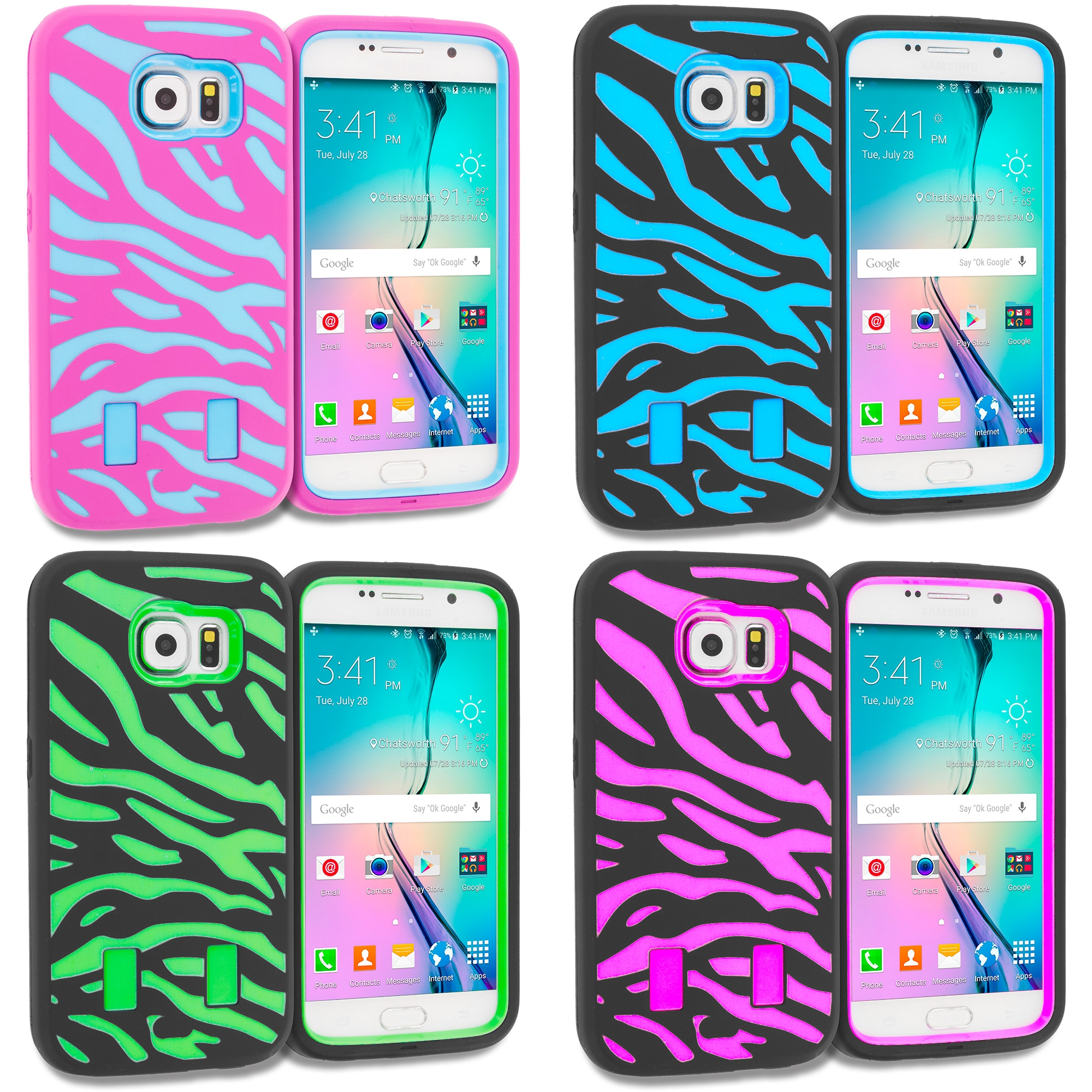 Samsung Galaxy S6 4 in 1 Combo Bundle Pack - Hybrid Zebra Hard/Soft Case Cover