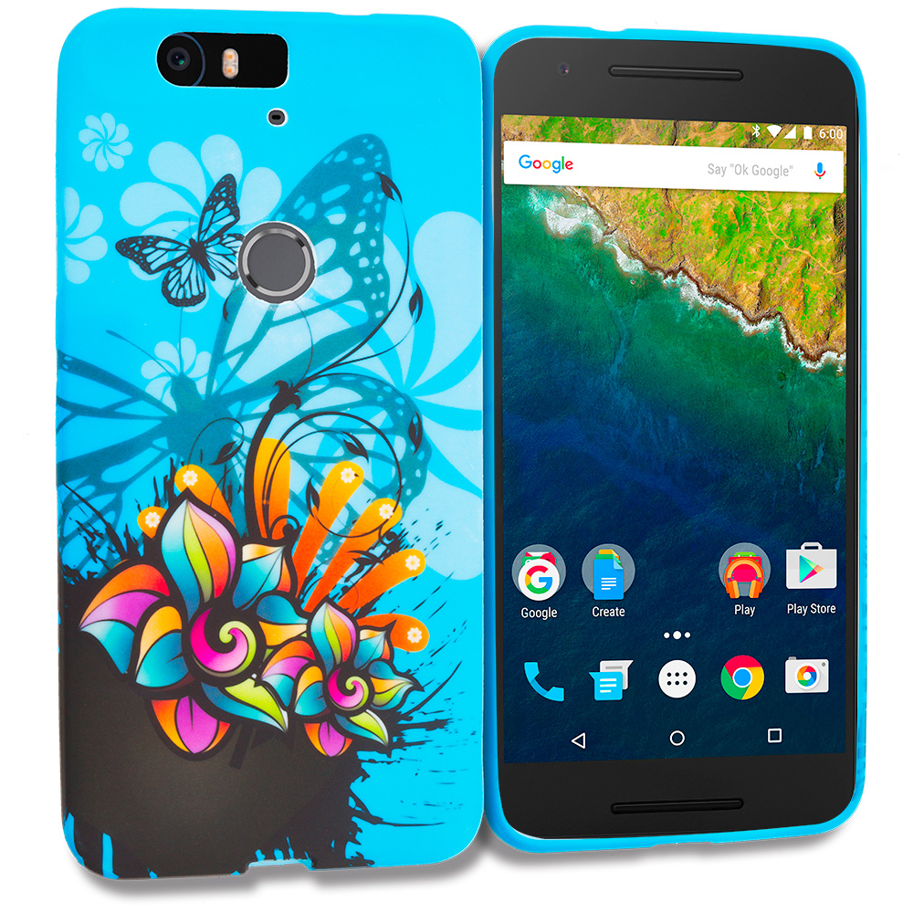 Huawei Google Nexus 6P Blue Butterfly Flower TPU Design Soft Rubber Case Cover