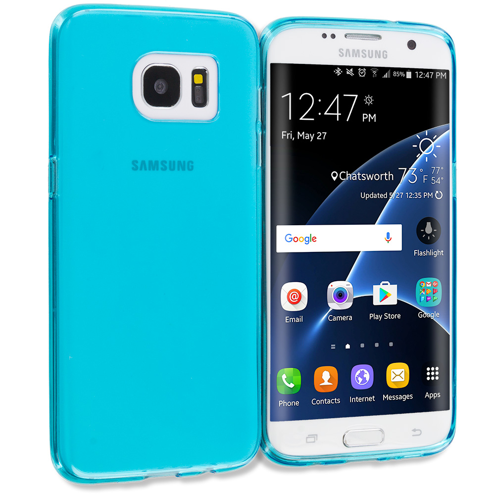Samsung Galaxy S7 Edge Baby Blue TPU Rubber Skin Case Cover
