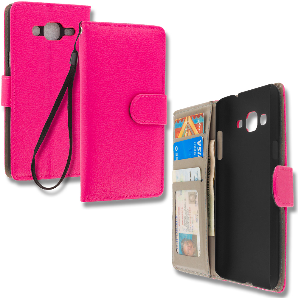 Samsung Galaxy J3 2016 Amp Prime Express Prime Hot Pink Leather Wallet Pouch Case Cover with Slots