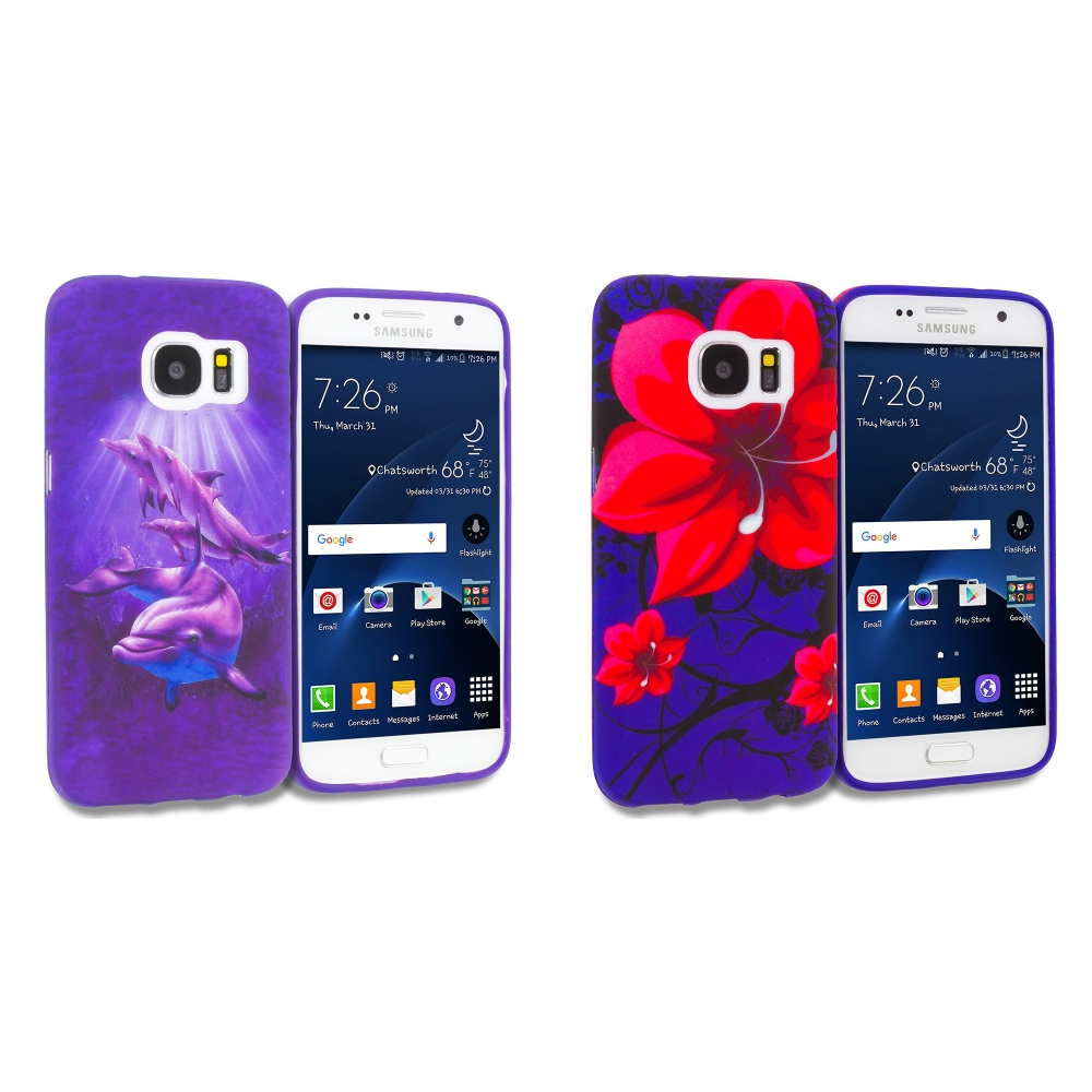 Samsung Galaxy S7 Combo Pack : Purple Dolphin TPU Design Soft Rubber Case Cover