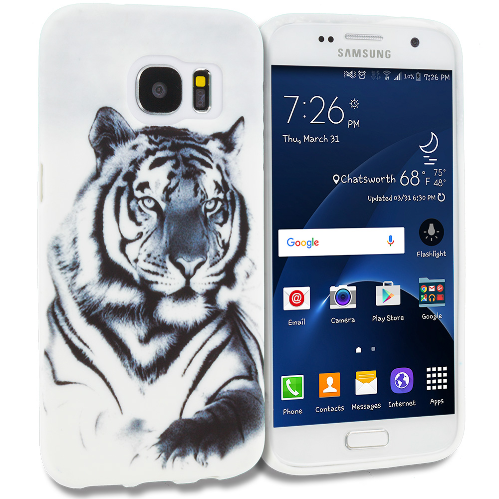 Samsung Galaxy S7 Combo Pack : Dog Paw TPU Design Soft Rubber Case Cover : Color Tiger