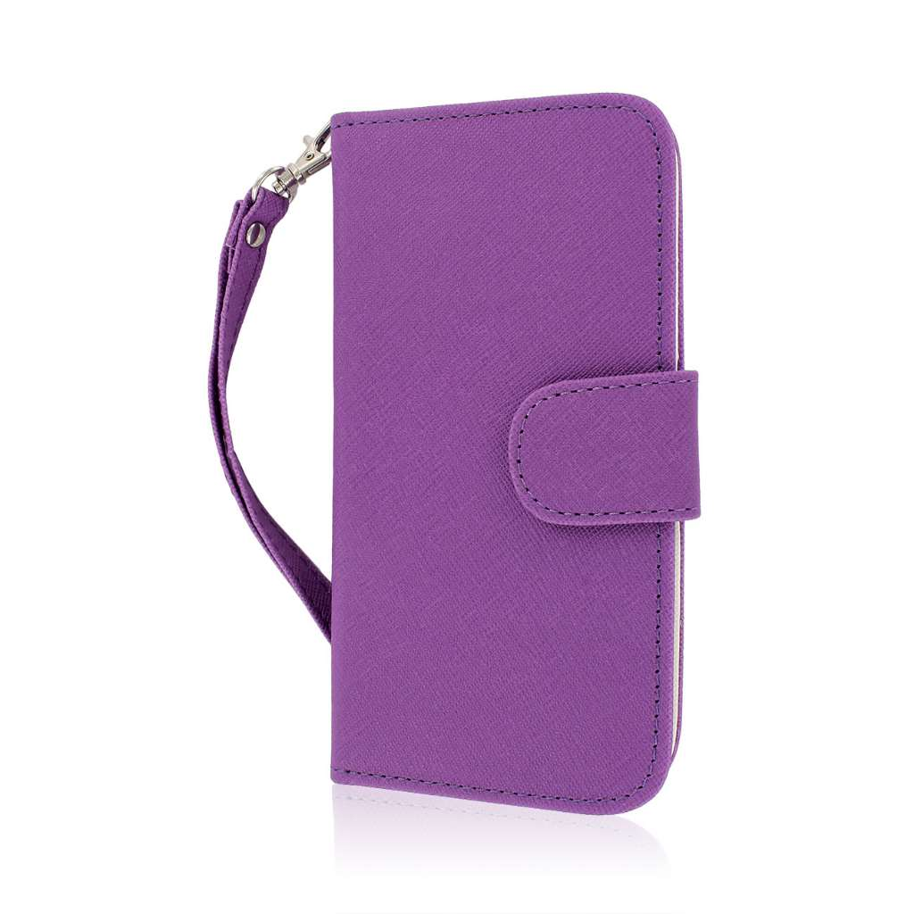 HTC One M8 M8 - Purple/ White MPERO FLEX FLIP Wallet Case Cover