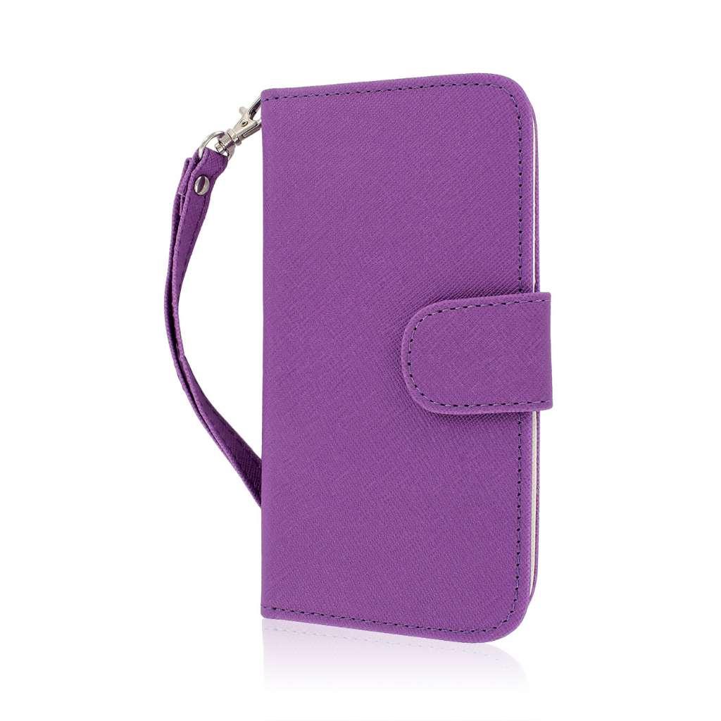 HTC One M8 M8 - Purple/ White MPERO FLEX FLIP Wallet Case Cover