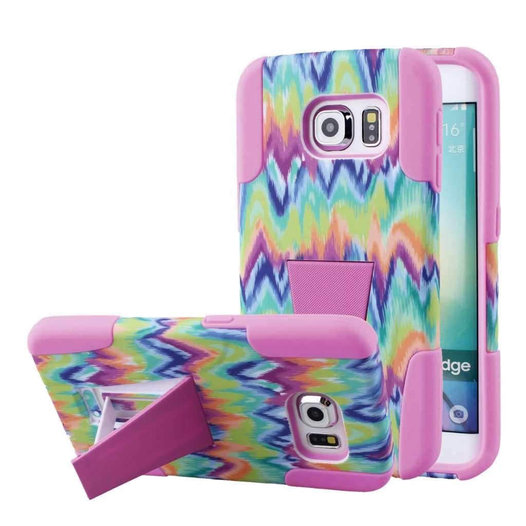 Samsung Galaxy S6 Edge - Pink Tie Dye Chevron MPERO IMPACT X - Stand Case