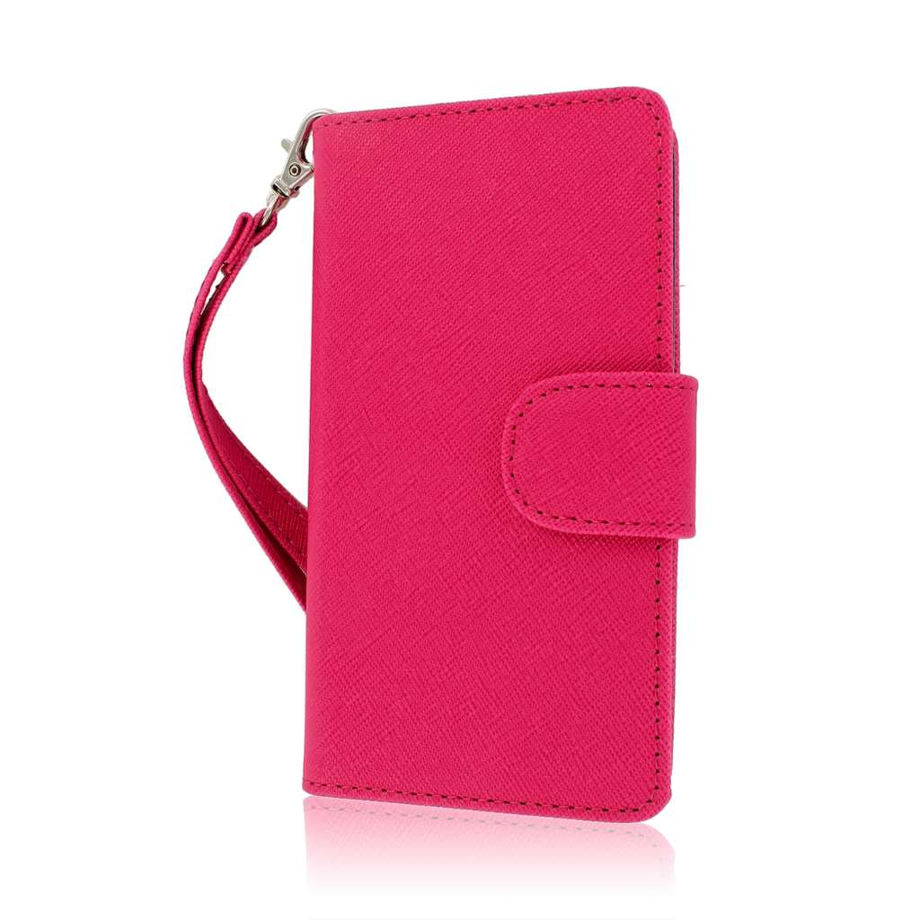 ZTE Warp 4G N9510 - Pink / Navy Blue MPERO FLEX FLIP Wallet Case Cover