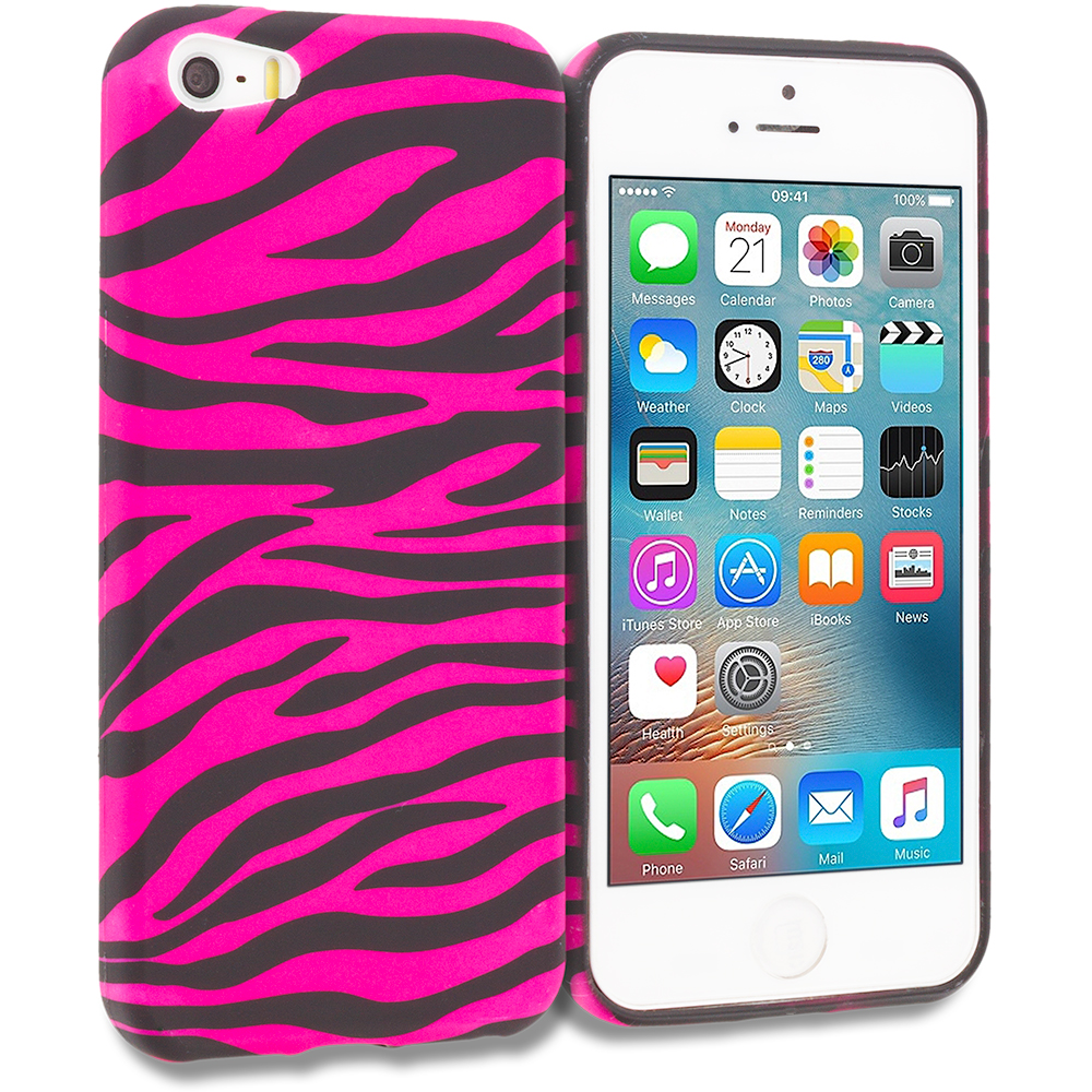 Apple iPhone 5/5S/SE Black / Hot Pink Zebra TPU Design Soft Rubber Case Cover