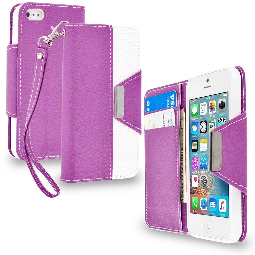 Apple iPhone 5/5S/SE Purple Wallet Magnetic Metal Flap Case Cover With Card Slots