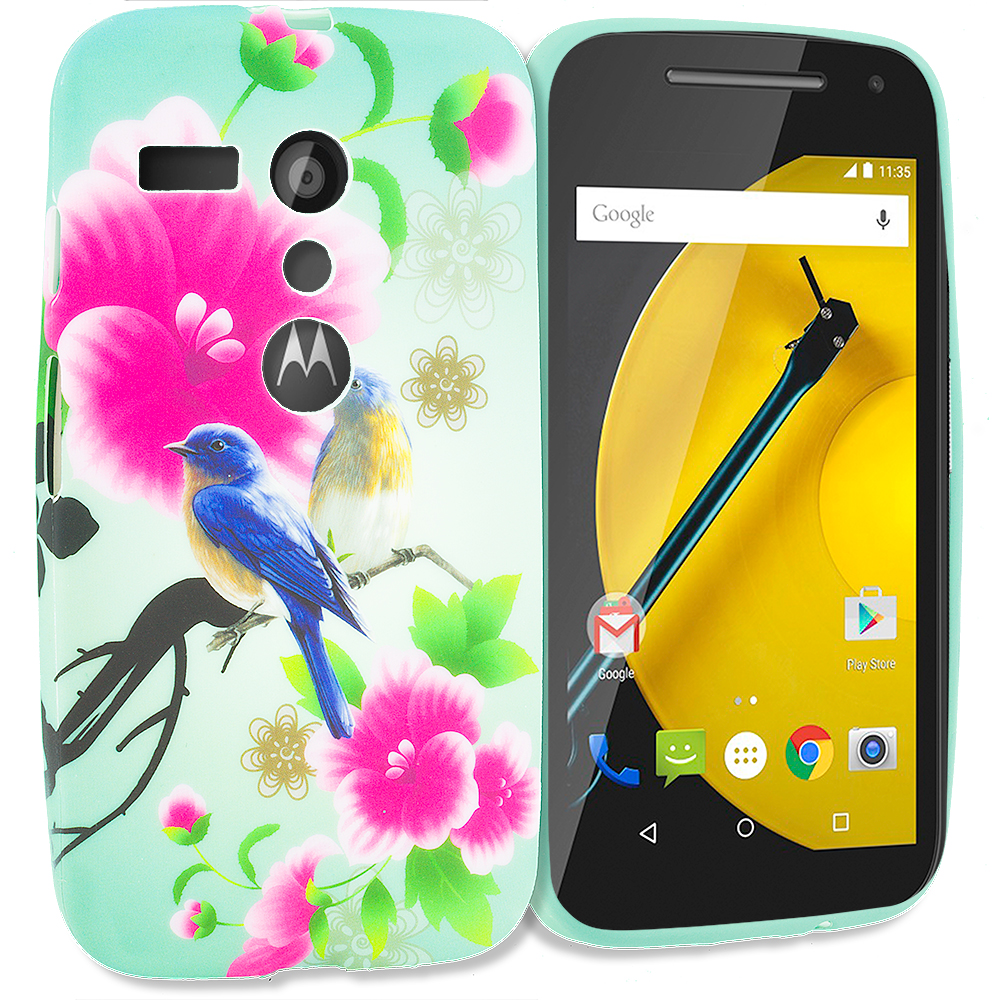Motorola Moto G Blue Bird Pink Flower TPU Design Soft Rubber Case Cover