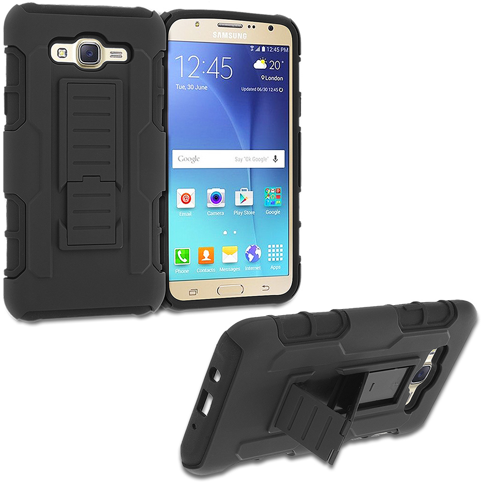 Samsung Galaxy J7 Black Hybrid Shock Absorption Robot Armor Heavy Duty Case Cover with Belt Clip Holster