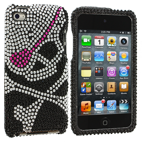 Apple iPod Touch 4th Generation Silver Skull on Black Bling Rhinestone Case Cover
