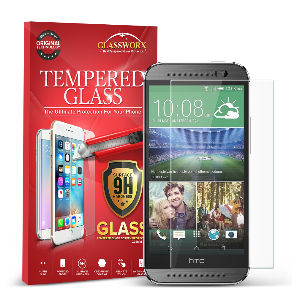 HTC One M8 GlassWorX HD Clear Tempered Glass Screen Protector