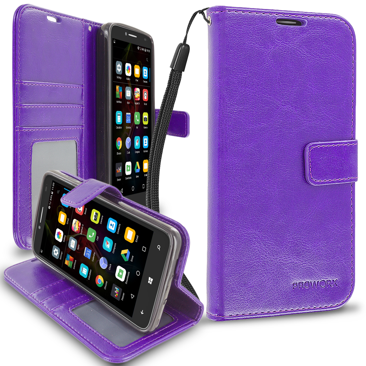 Alcatel OneTouch Fierce XL Purple ProWorx Wallet Case Luxury PU Leather Case Cover With Card Slots & Stand