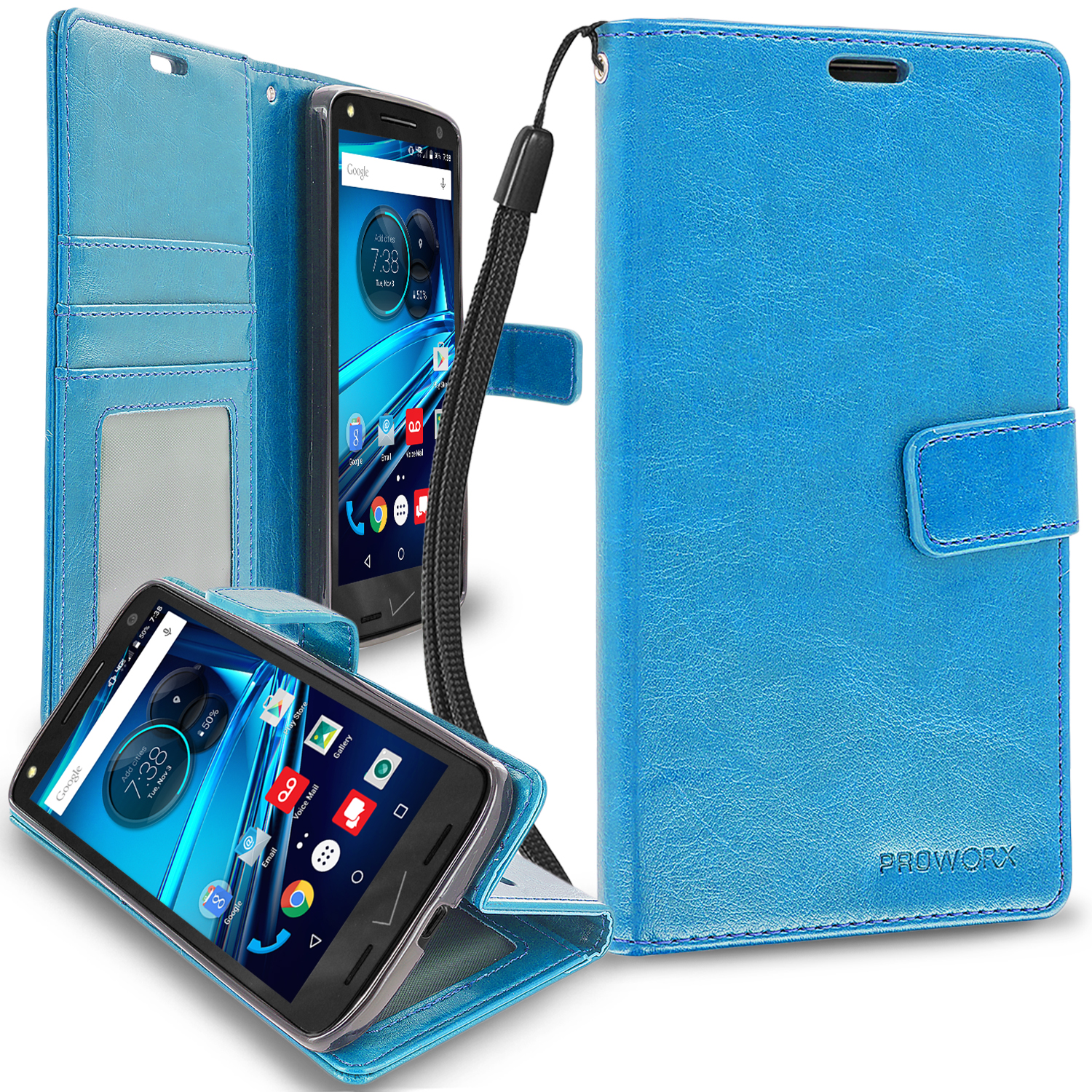 Motorola Droid Turbo 2 Baby Blue ProWorx Wallet Case Luxury PU Leather Case Cover With Card Slots & Stand