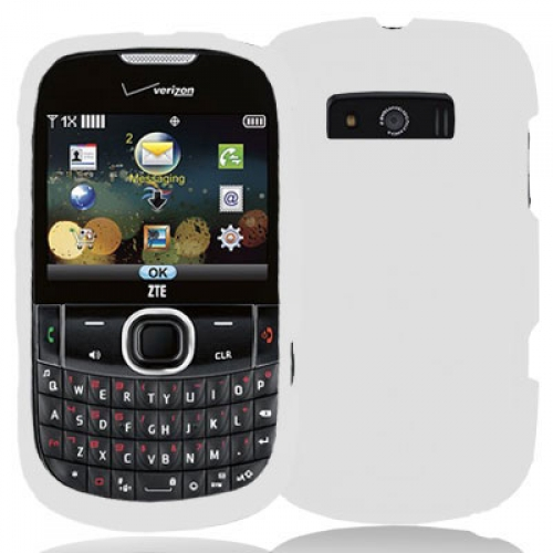 ZTE Adamant F450 White Hard Rubberized Case Cover