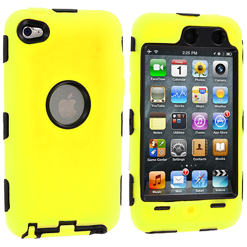 Apple iPod Touch 4th Generation Yellow Deluxe Hybrid Deluxe Hard/Soft Case Cover