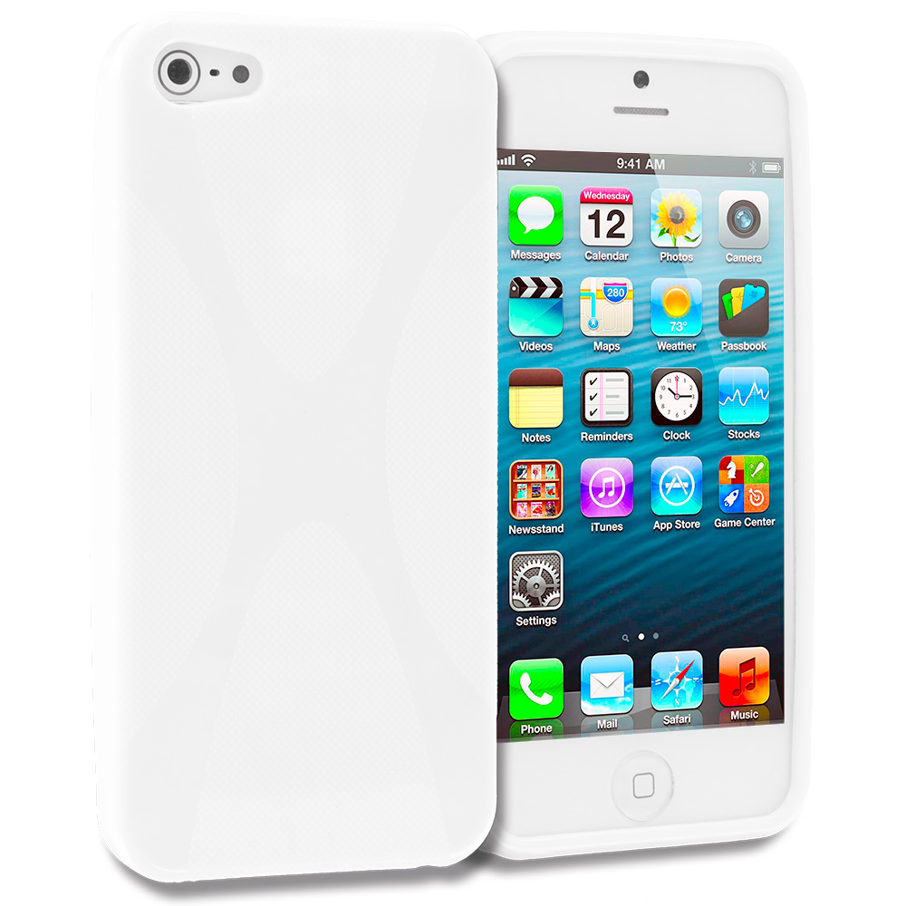 Apple iPhone 5/5S/SE 2 in 1 Combo Bundle Pack - White Clear X-Line TPU Rubber Skin Case Cover : Color White X-Line