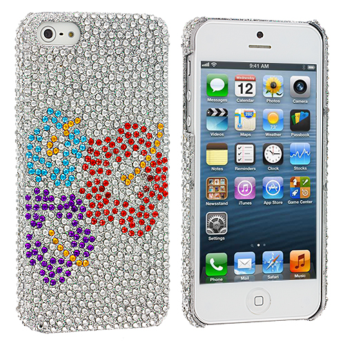 Apple iPhone 5 Red Purple Blue Flower Bling Rhinestone Case Cover