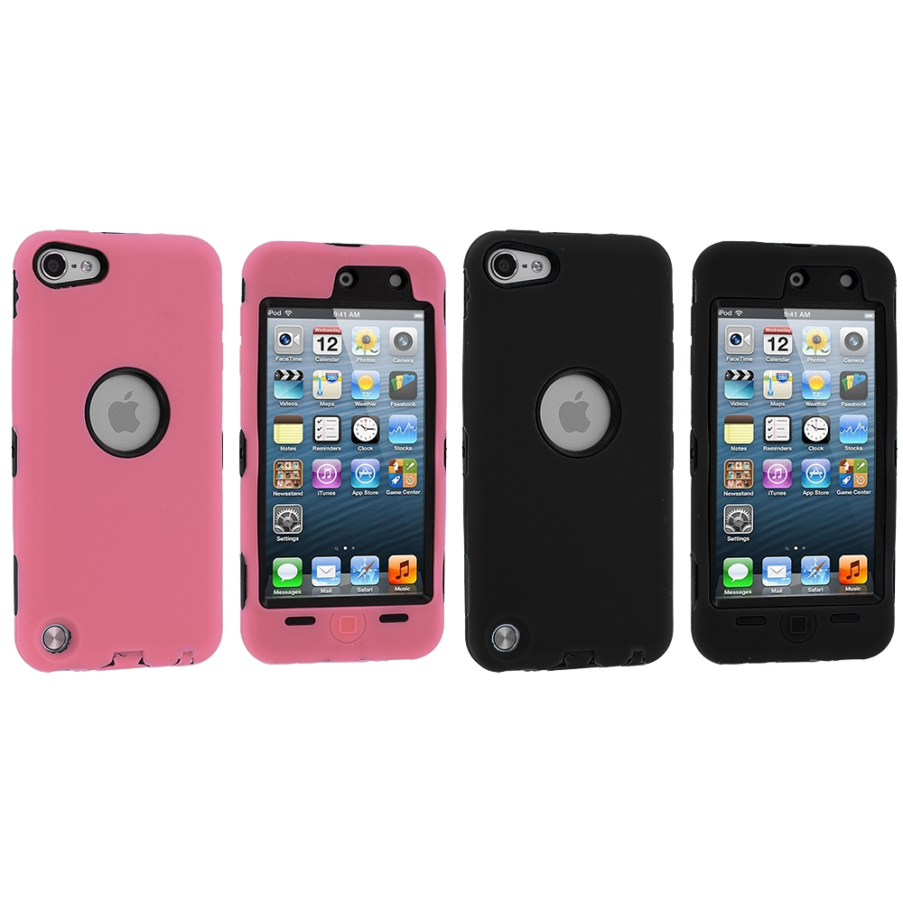 Apple iPod Touch 5th 6th Generation 2 in 1 Combo Bundle Pack - Pink Black Deluxe Hybrid Deluxe Hard/Soft Case Cover