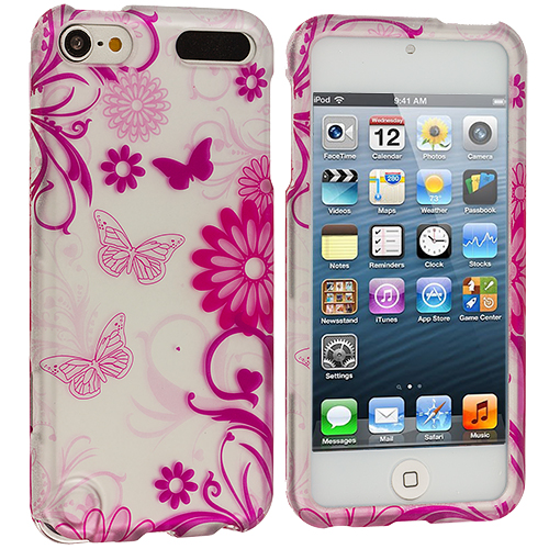 Apple iPod Touch 5th 6th Generation Pink Butterfly Flowers on Whte Hard Rubberized Design Case Cover