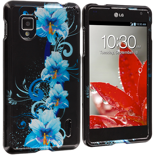 LG Optimus G LS970 / Eclipse Blue Flowers Design Crystal Hard Case Cover
