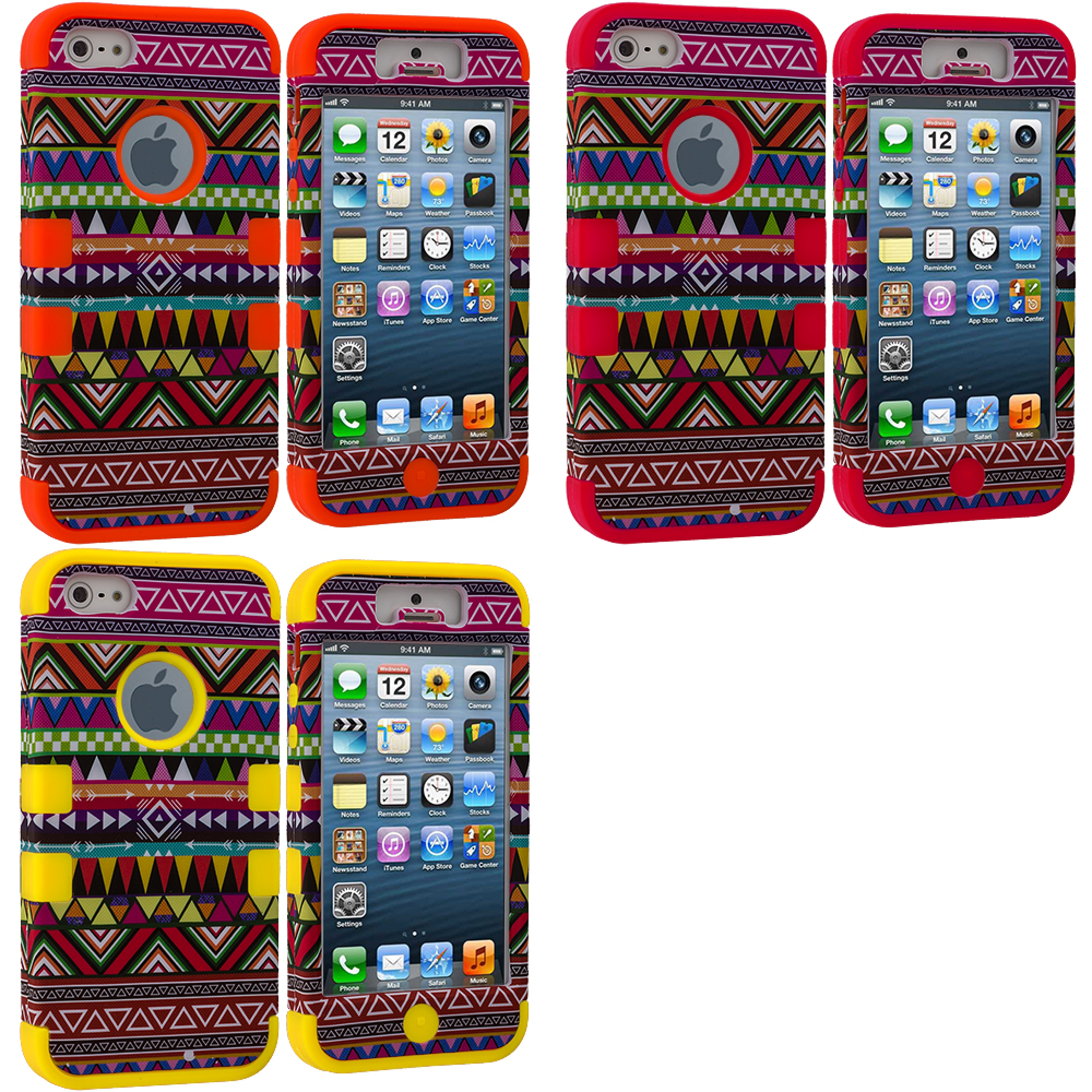 Apple iPhone 5/5S/SE Combo Pack : Red Tribal Hybrid Tuff Hard/Soft 3-Piece Case Cover