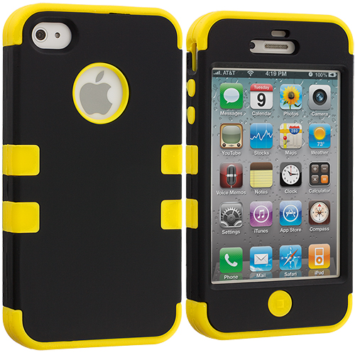 Apple iPhone 4 / 4S Black / Yellow Hybrid Tuff Hard/Soft 3-Piece Case Cover