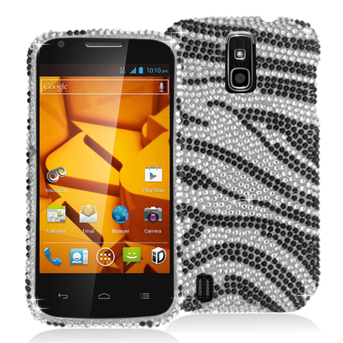 ZTE Force N9100 Black / Silver Zebra Bling Rhinestone Case Cover