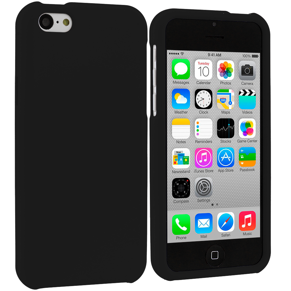 Apple iPhone 5C Black Hard Rubberized Case Cover