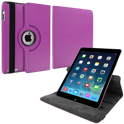 Apple iPad Air Purple 360 Rotating Leather Pouch Case Cover Stand