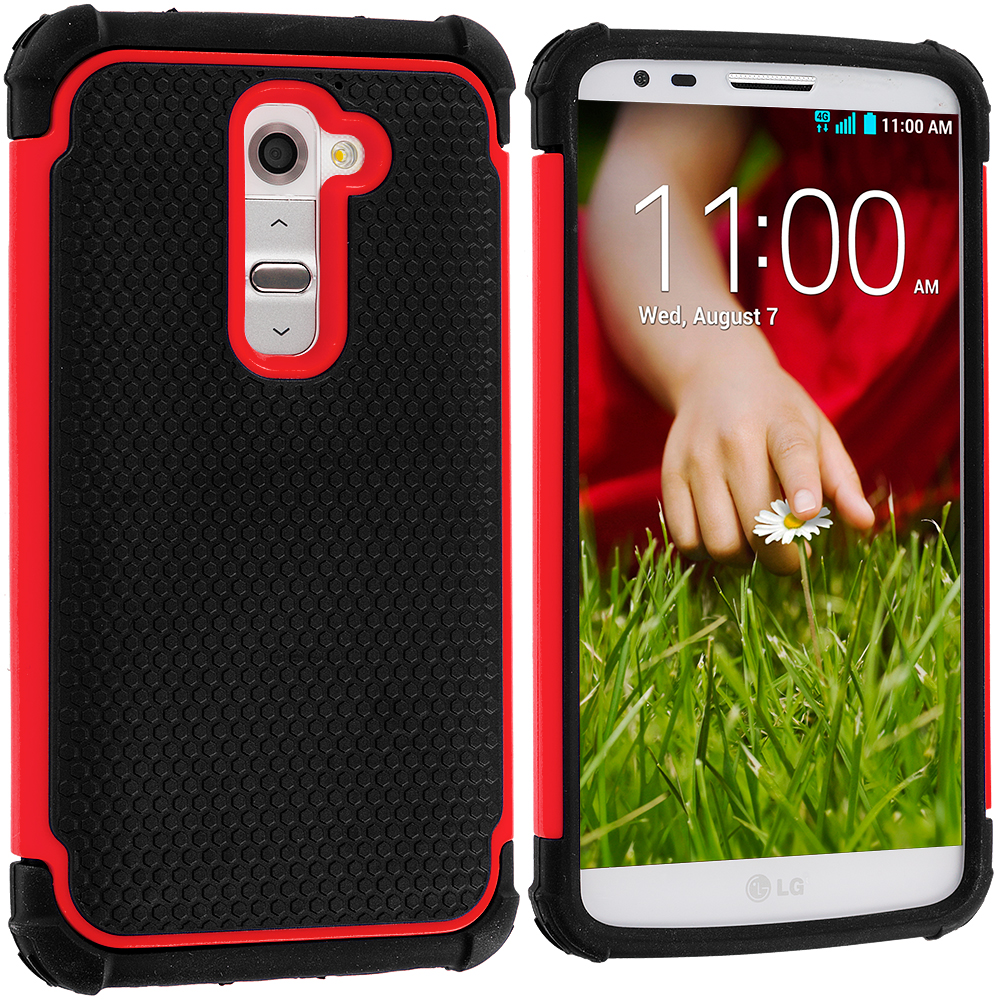 LG G2 Sprint, T-Mobile, At&t Black / Red Hybrid Rugged Hard/Soft Case Cover