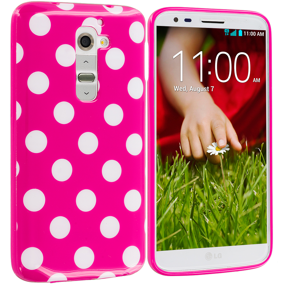 LG G2 Sprint, T-Mobile, At&t Hot Pink / White TPU Polka Dot Skin Case Cover