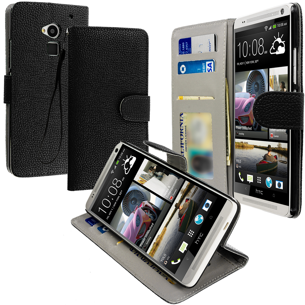 HTC One Max Black Leather Wallet Pouch Case Cover with Slots