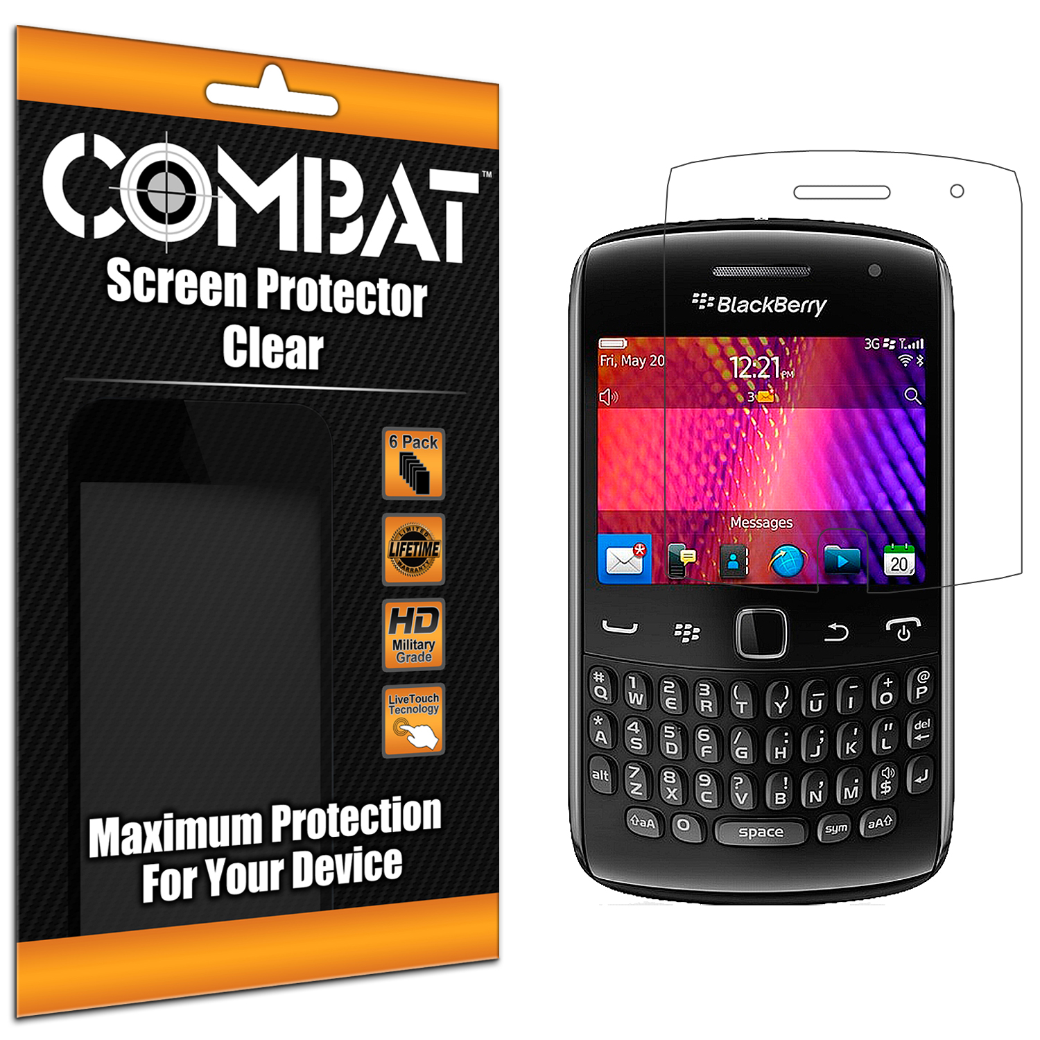 BlackBerry Curve 9350 9360 9370 Combat 6 Pack HD Clear Screen Protector