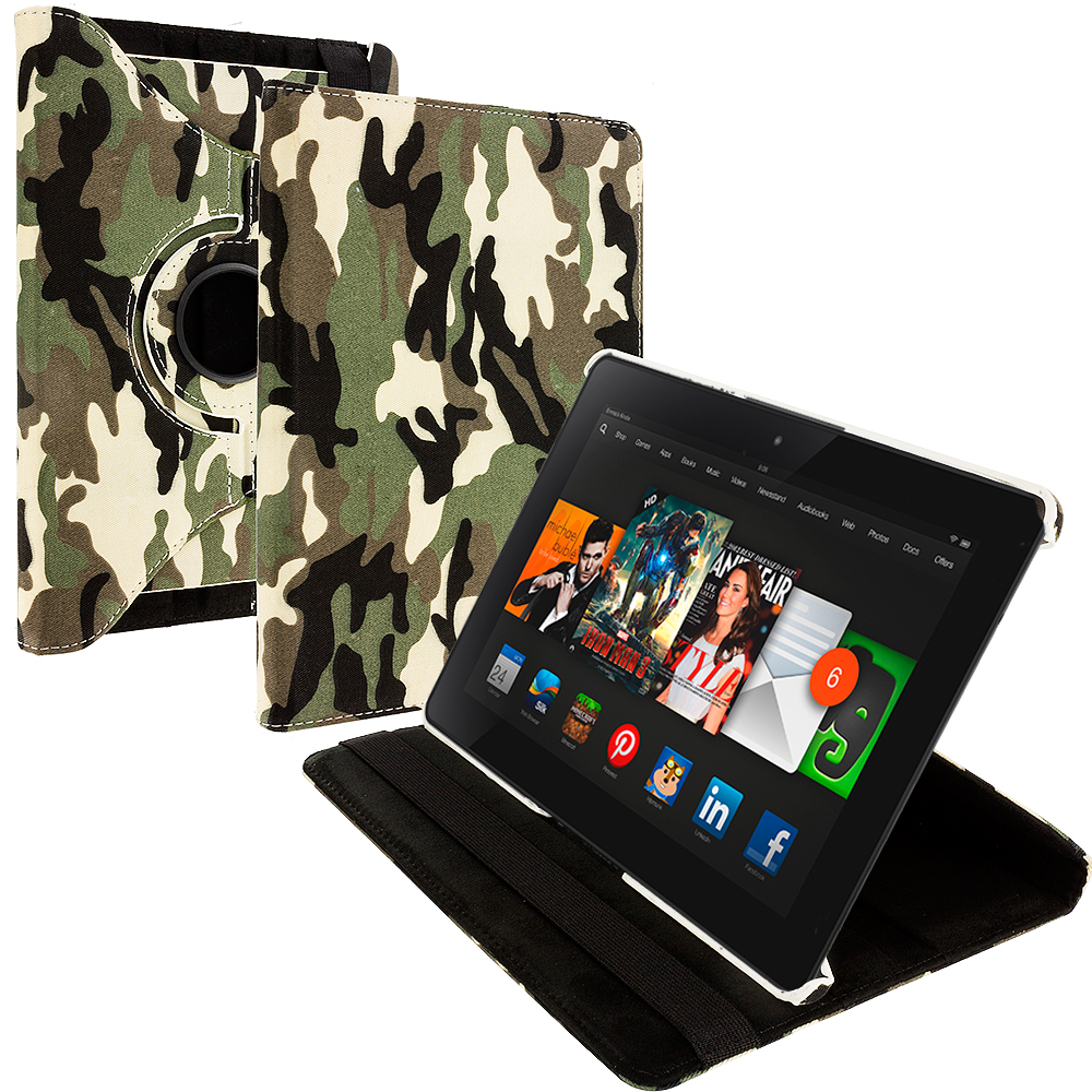Amazon Kindle Fire HDX 8.9 Camo 360 Rotating Leather Pouch Case Cover Stand