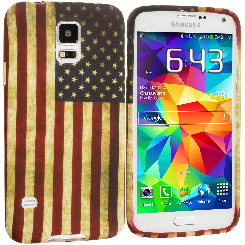 Samsung Galaxy S5 USA Flag TPU Design Soft Case Cover