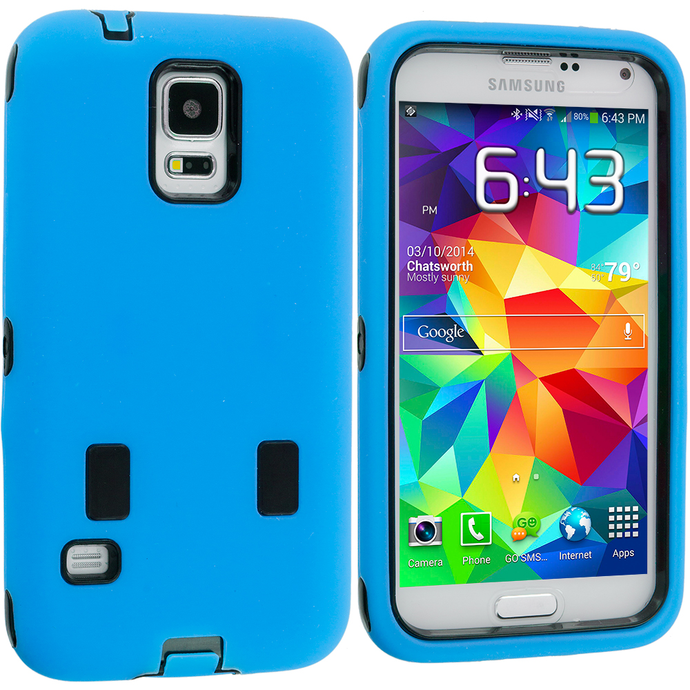 Samsung Galaxy S5 Blue / Black Hybrid Deluxe Hard/Soft Case Cover