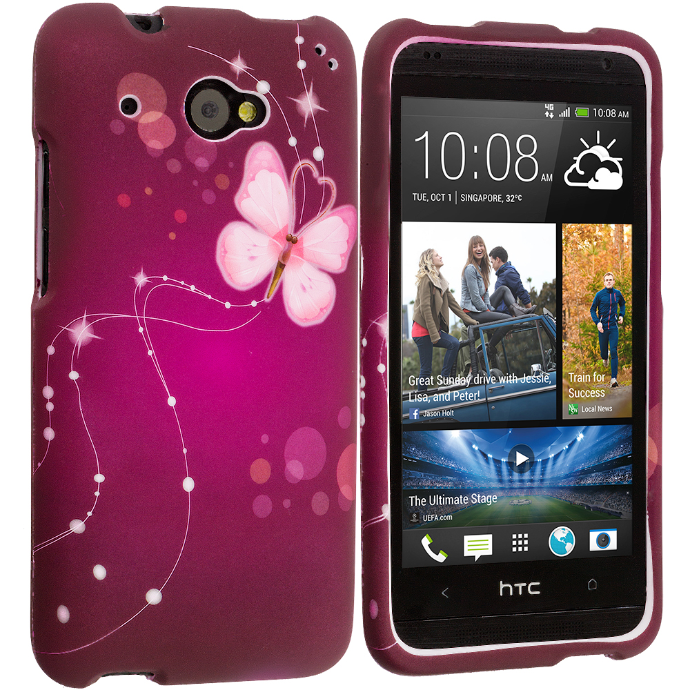 HTC Desire 601 Dream Butterfly 2D Hard Rubberized Design Case Cover