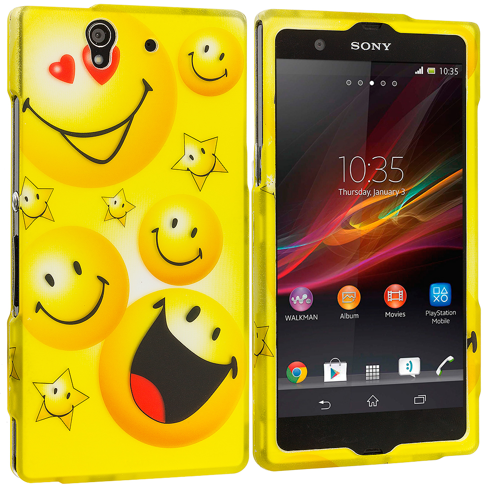 Sony Xperia Z Smiley Face 2D Hard Rubberized Design Case Cover