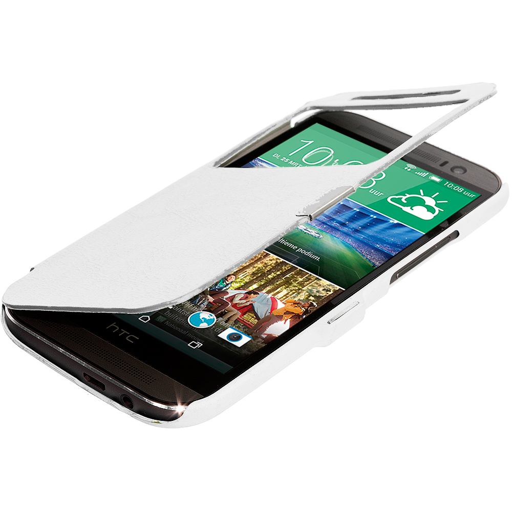 HTC One M8 White (Open Front) Magnetic Wallet Case Cover Pouch