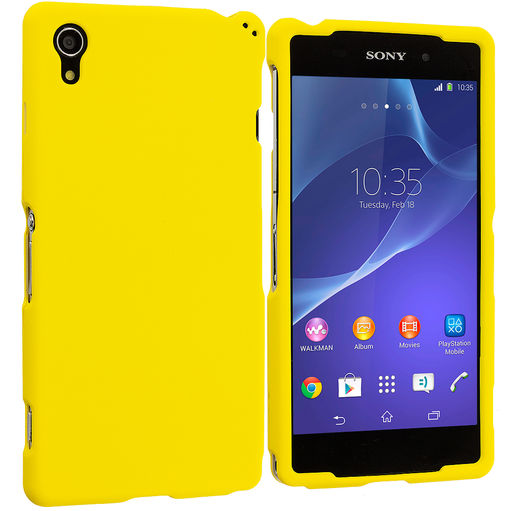 Sony Xperia Z2 Yellow Hard Rubberized Case Cover