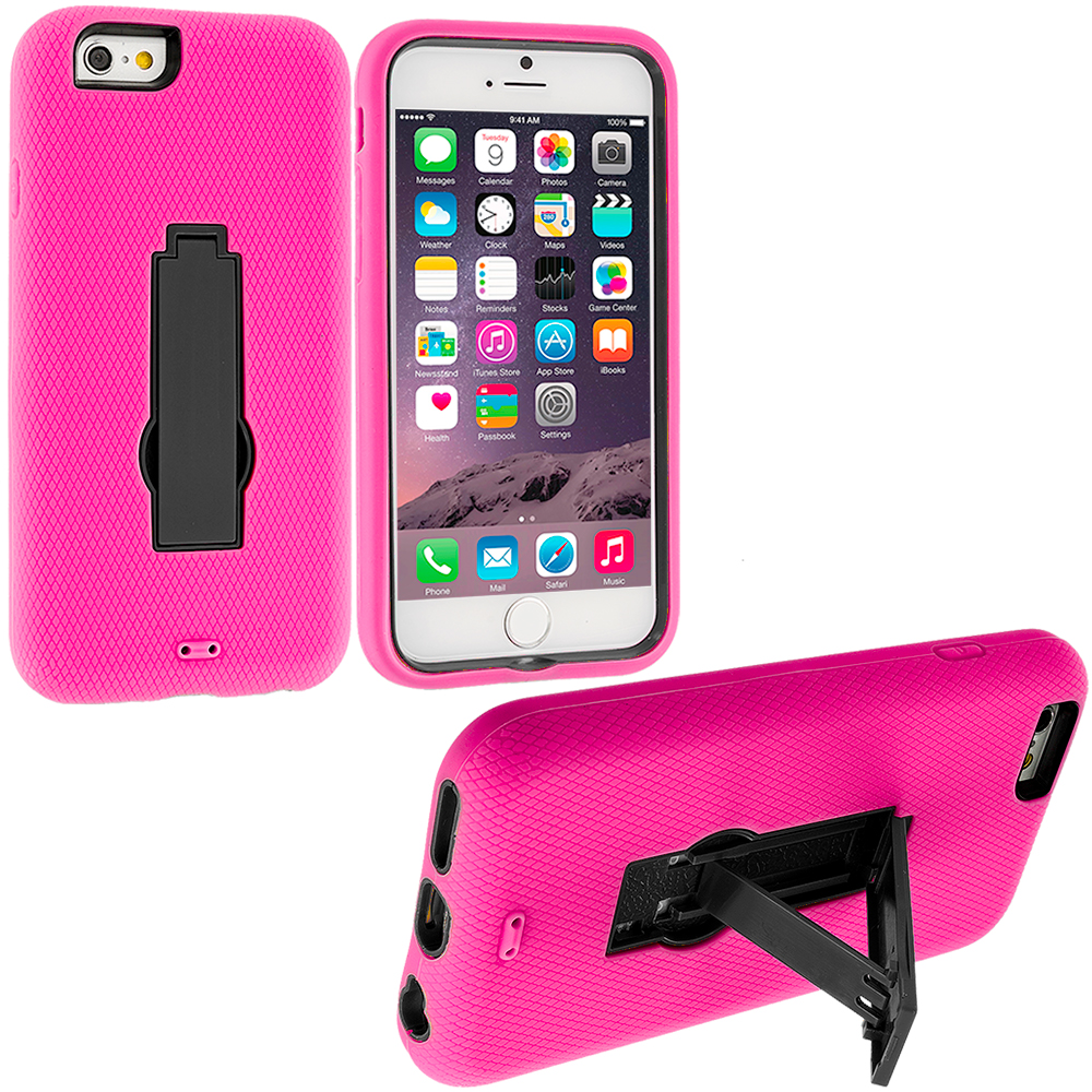 Apple iPhone 6 6S (4.7) 3 in 1 Combo Bundle Pack - Hybrid Heavy Duty Hard/Soft Case Cover with Stand : Color Hot Pink / Black
